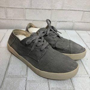Men's Toms Paseo Gray Canvas Sneaker 10.5